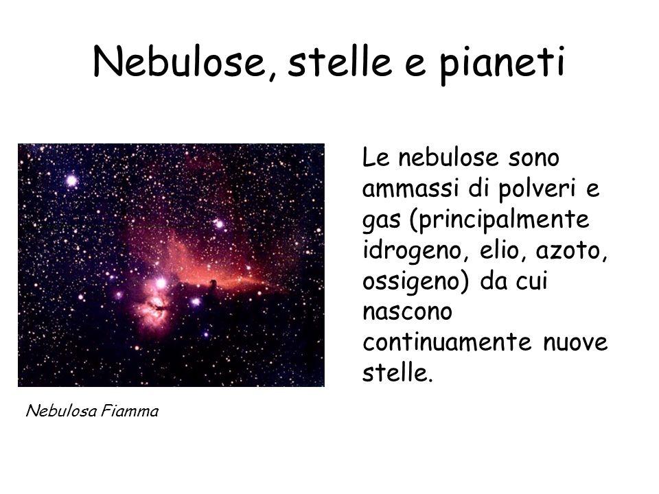 Nebulose, stelle e pianeti Le nebulose sono ammassi di polveri e gas (principalmente idrogeno, elio, azoto, ossigeno) da cui nascono continuamente nuove stelle.