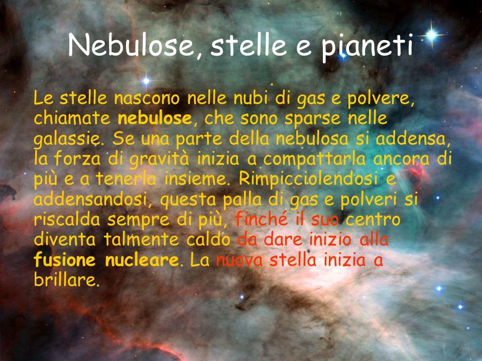 Nebulose, stelle e pianeti Le stelle nascono nelle nubi di gas e polvere, chiamate nebulose, che sono sparse nelle galassie.