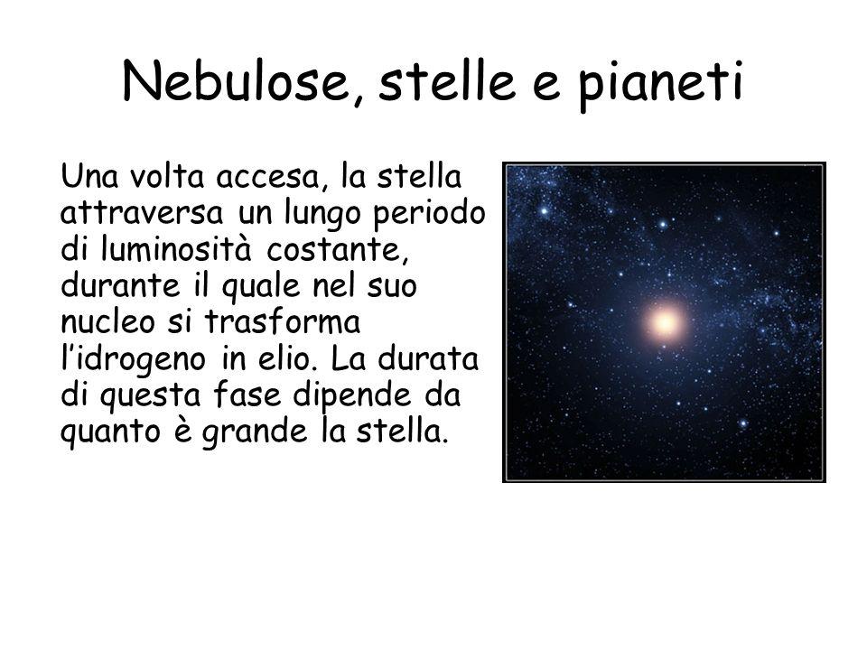 Nebulose, stelle e pianeti Una volta accesa, la stella attraversa un lungo periodo di luminosità costante, durante il quale nel suo nucleo si trasforma lidrogeno in elio.