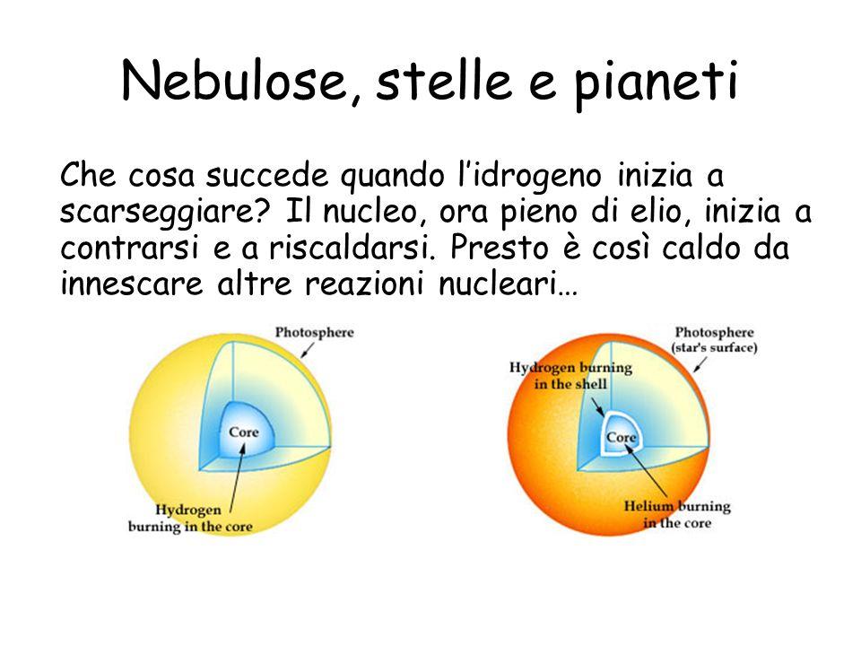 Nebulose, stelle e pianeti Che cosa succede quando lidrogeno inizia a scarseggiare.