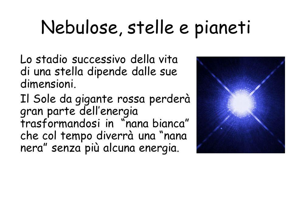 Nebulose, stelle e pianeti Lo stadio successivo della vita di una stella dipende dalle sue dimensioni.