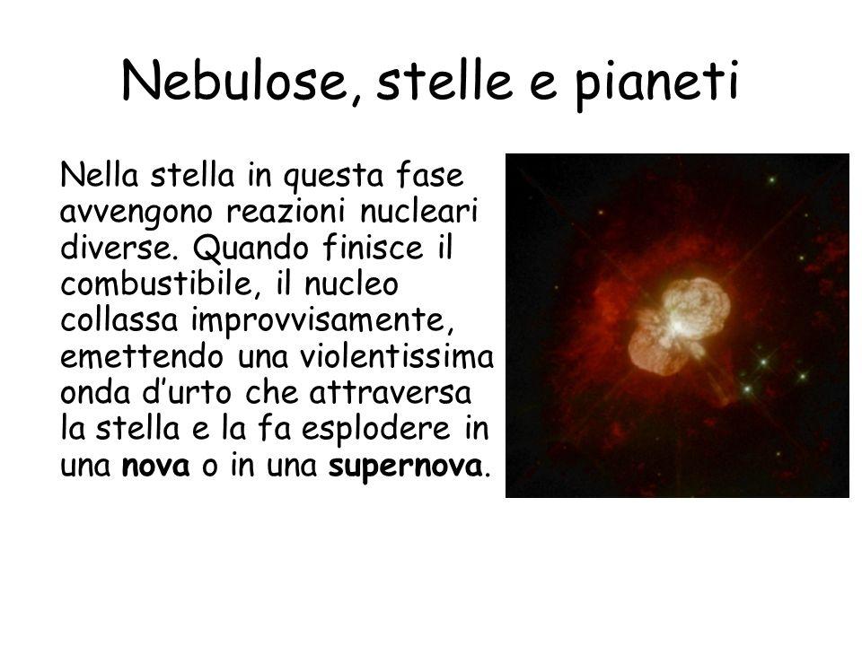 Nebulose, stelle e pianeti Nella stella in questa fase avvengono reazioni nucleari diverse.