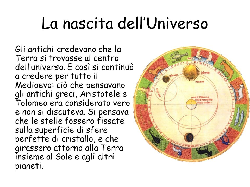 La nascita dellUniverso Gli antichi credevano che la Terra si trovasse al centro delluniverso.