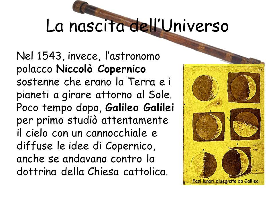 La nascita dellUniverso Nel 1543, invece, lastronomo polacco Niccolò Copernico sostenne che erano la Terra e i pianeti a girare attorno al Sole.