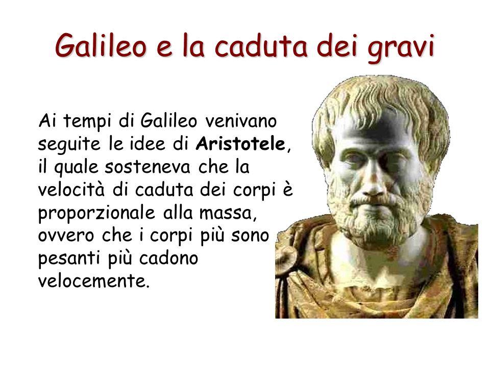 Ai tempi di Galileo venivano seguite le idee di Aristotele, il quale sosteneva che la velocità di caduta dei corpi è proporzionale alla massa, ovvero