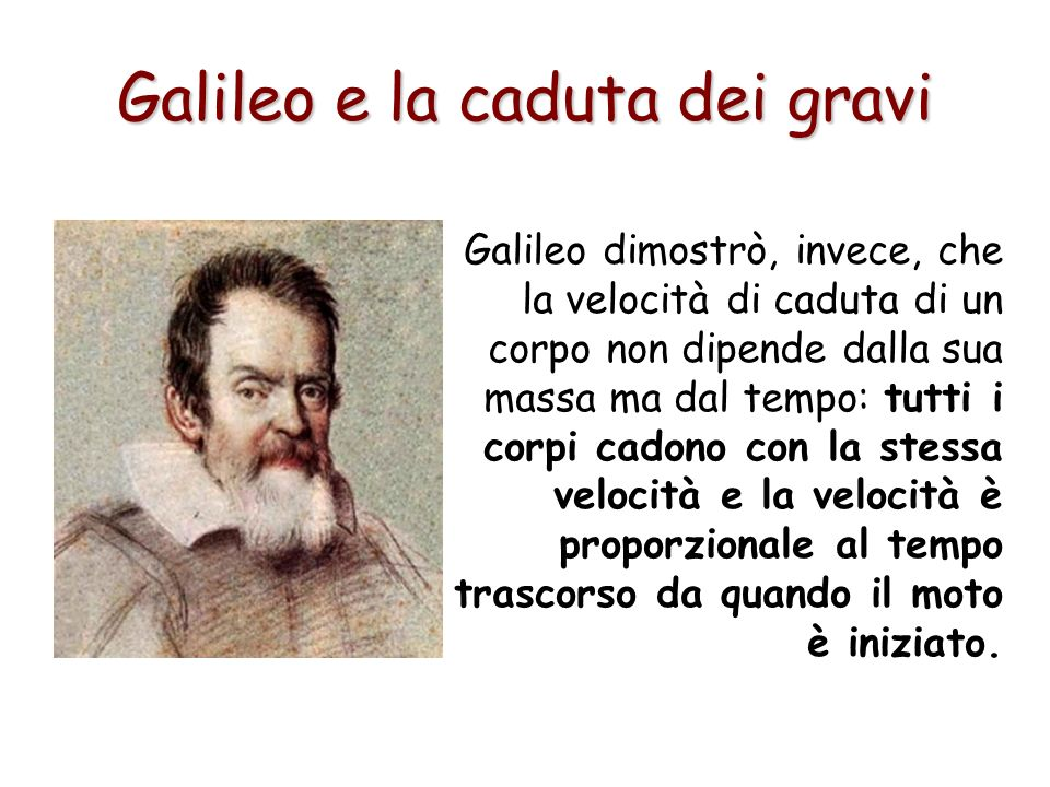 Galileo dimostrò, invece, che la velocità di caduta di un corpo non dipende dalla sua massa ma dal tempo: tutti i corpi cadono con la stessa velocità