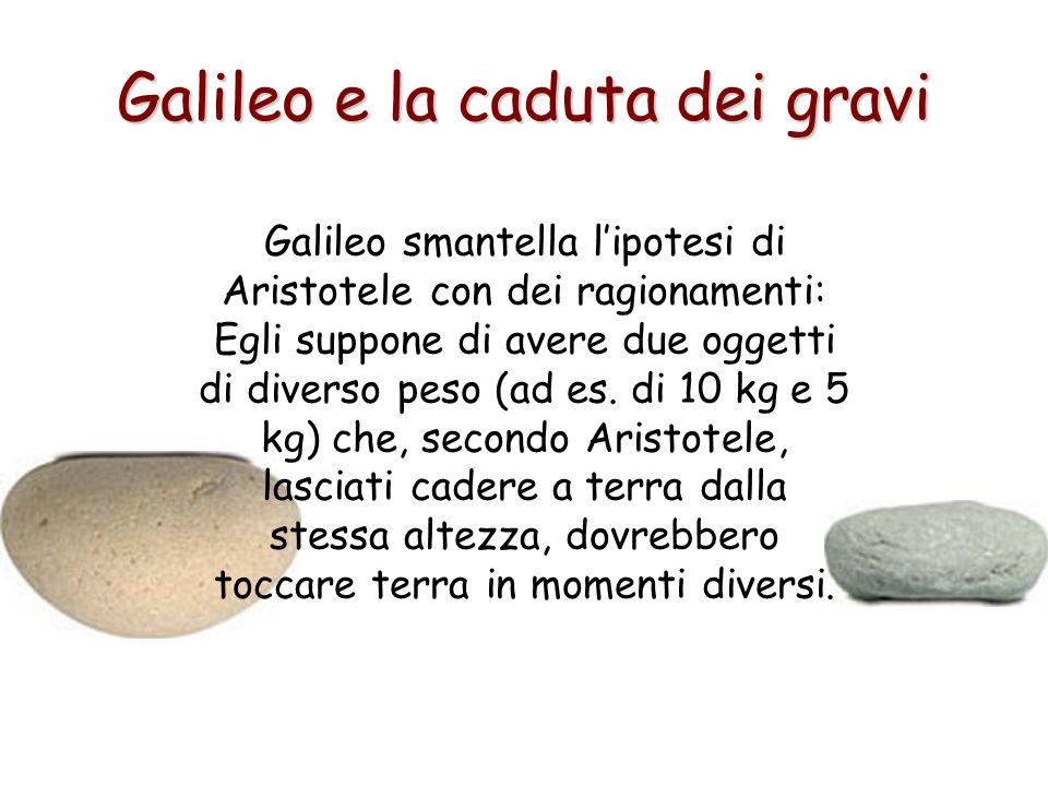 Galileo e la caduta dei gravi Galileo smantella lipotesi di Aristotele con dei ragionamenti: Egli suppone di avere due oggetti di diverso peso (ad es.