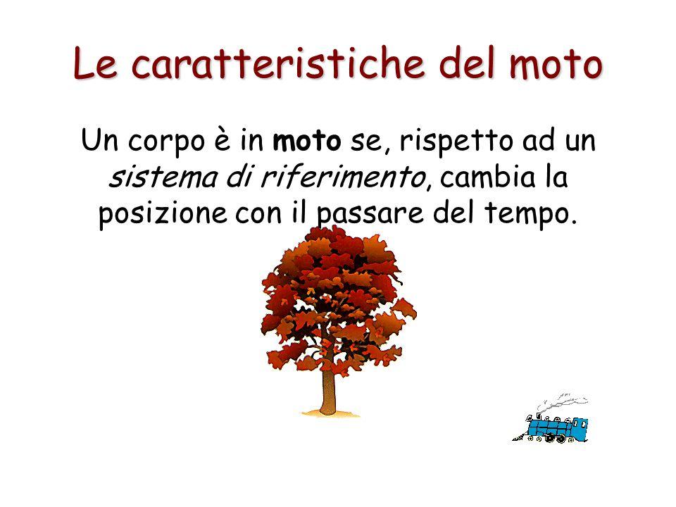 Le caratteristiche del moto Un corpo è in moto se, rispetto ad un sistema di riferimento, cambia la posizione con il passare del tempo.