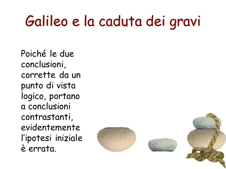 Galileo e la caduta dei gravi Poiché le due conclusioni, corrette da un punto di vista logico, portano a conclusioni contrastanti, evidentemente lipot
