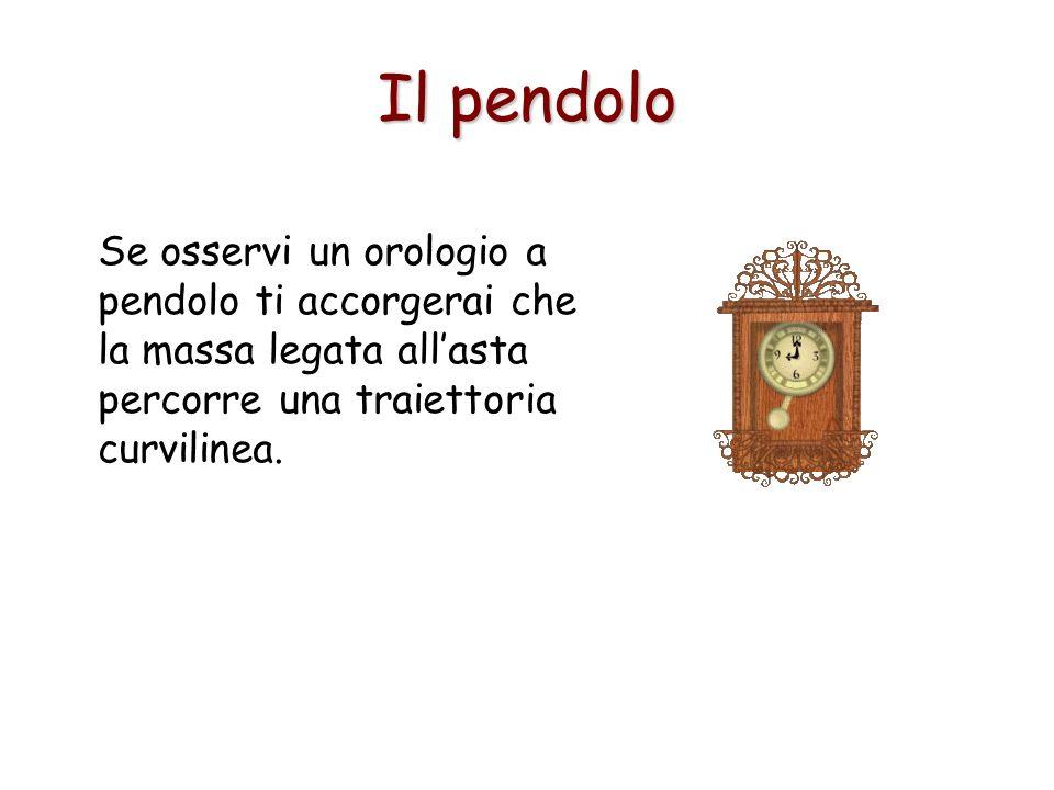 Il pendolo Se osservi un orologio a pendolo ti accorgerai che la massa legata allasta percorre una traiettoria curvilinea.
