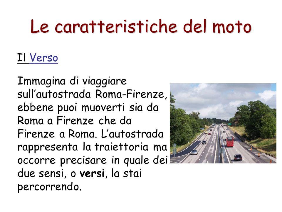 Le caratteristiche del moto Il Verso Immagina di viaggiare sullautostrada Roma-Firenze, ebbene puoi muoverti sia da Roma a Firenze che da Firenze a Ro