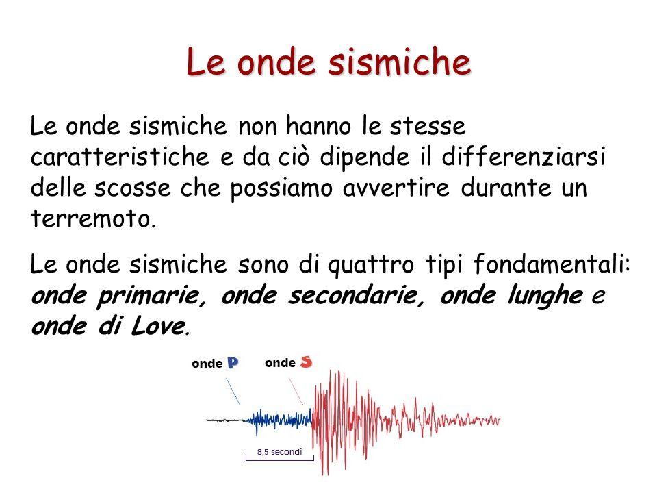 Le onde sismiche non hanno le stesse caratteristiche e da ciò dipende il differenziarsi delle scosse che possiamo avvertire durante un terremoto. Le o