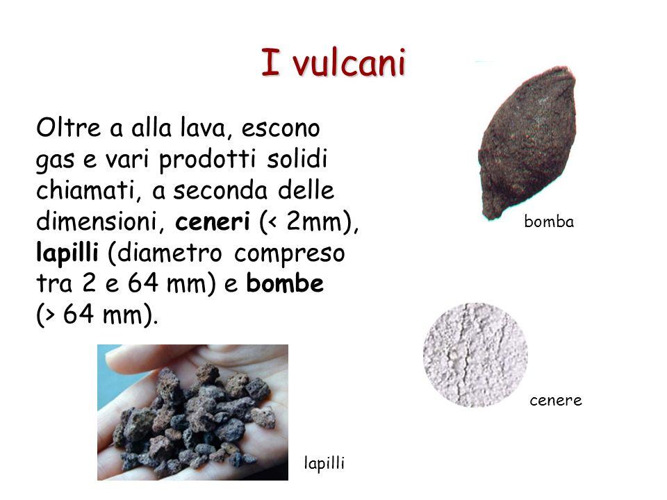 Oltre a alla lava, escono gas e vari prodotti solidi chiamati, a seconda delle dimensioni, ceneri ( 64 mm). I vulcani bomba cenere lapilli