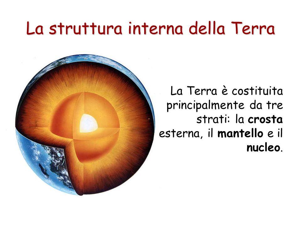 La struttura interna della Terra La Terra è costituita principalmente da tre strati: la crosta esterna, il mantello e il nucleo.