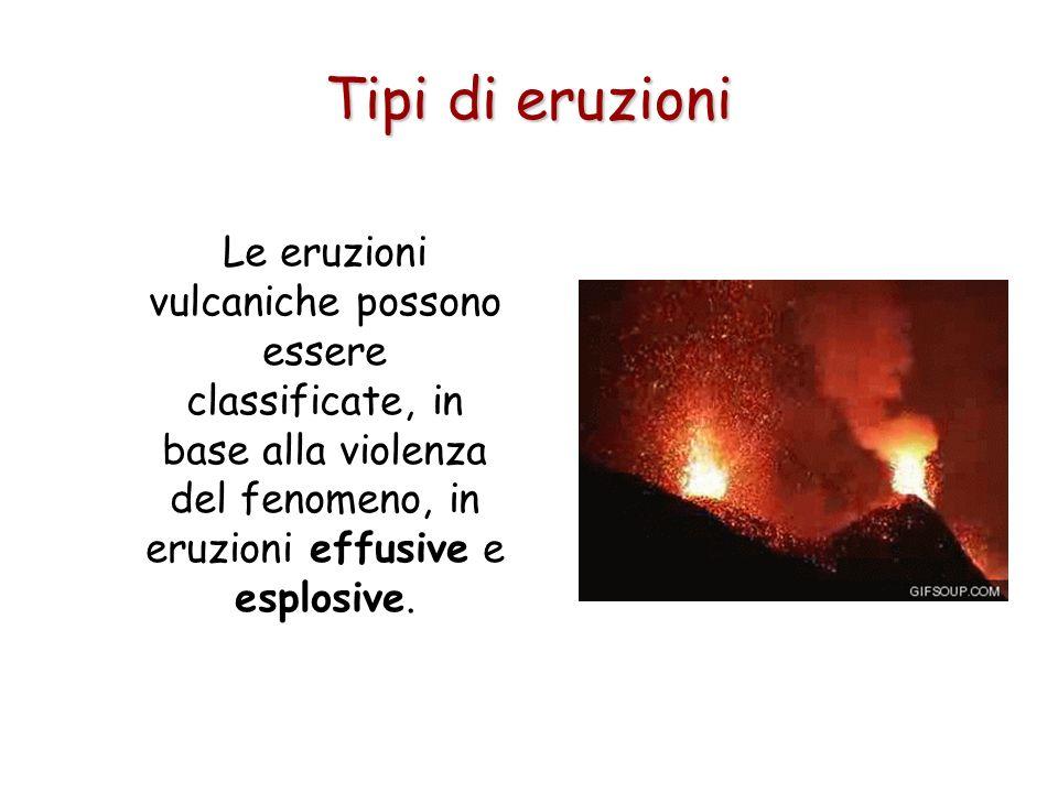 Le eruzioni vulcaniche possono essere classificate, in base alla violenza del fenomeno, in eruzioni effusive e esplosive. Tipi di eruzioni