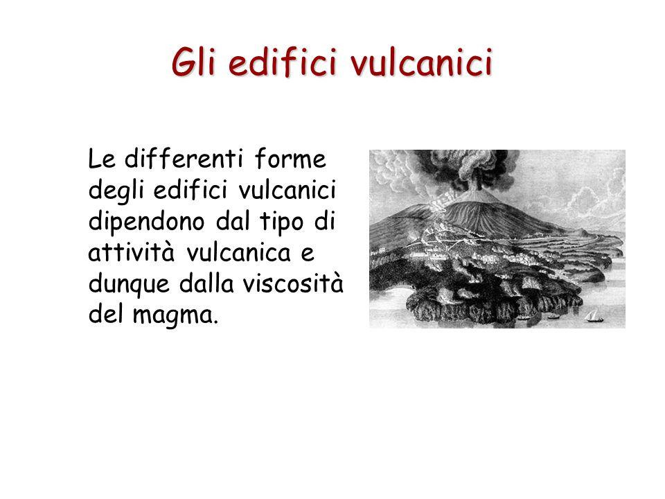 Le differenti forme degli edifici vulcanici dipendono dal tipo di attività vulcanica e dunque dalla viscosità del magma. Gli edifici vulcanici