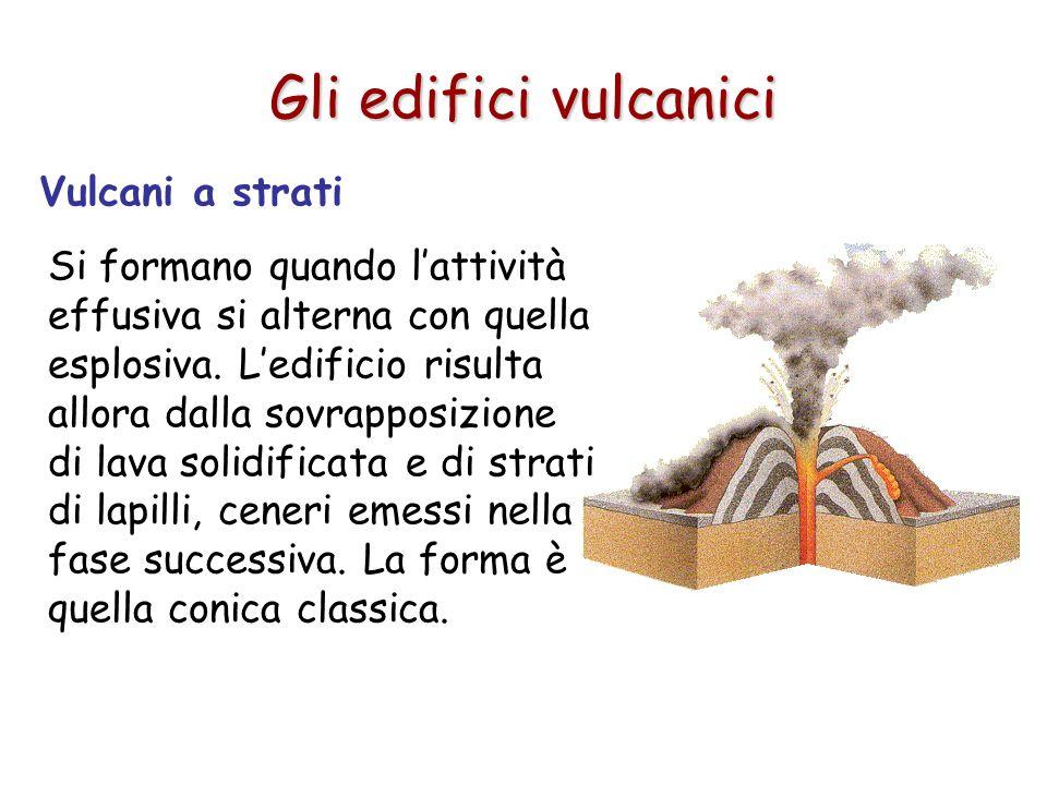 Vulcani a strati Si formano quando lattività effusiva si alterna con quella esplosiva. Ledificio risulta allora dalla sovrapposizione di lava solidifi