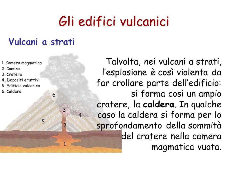 Vulcani a strati Gli edifici vulcanici Talvolta, nei vulcani a strati, lesplosione è così violenta da far crollare parte delledificio: si forma così u