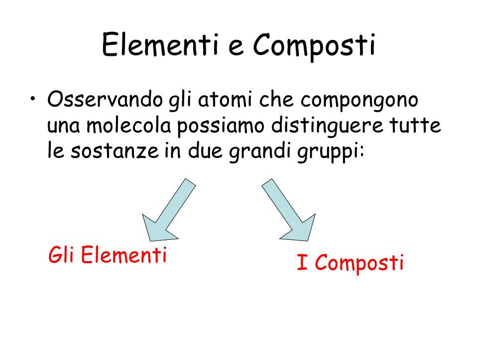 Elementi e Composti Osservando gli atomi che compongono una molecola possiamo distinguere tutte le sostanze in due grandi gruppi: Gli Elementi I Compo
