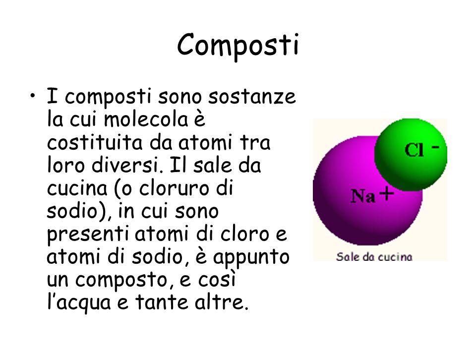 Composti I composti sono sostanze la cui molecola è costituita da atomi tra loro diversi. Il sale da cucina (o cloruro di sodio), in cui sono presenti