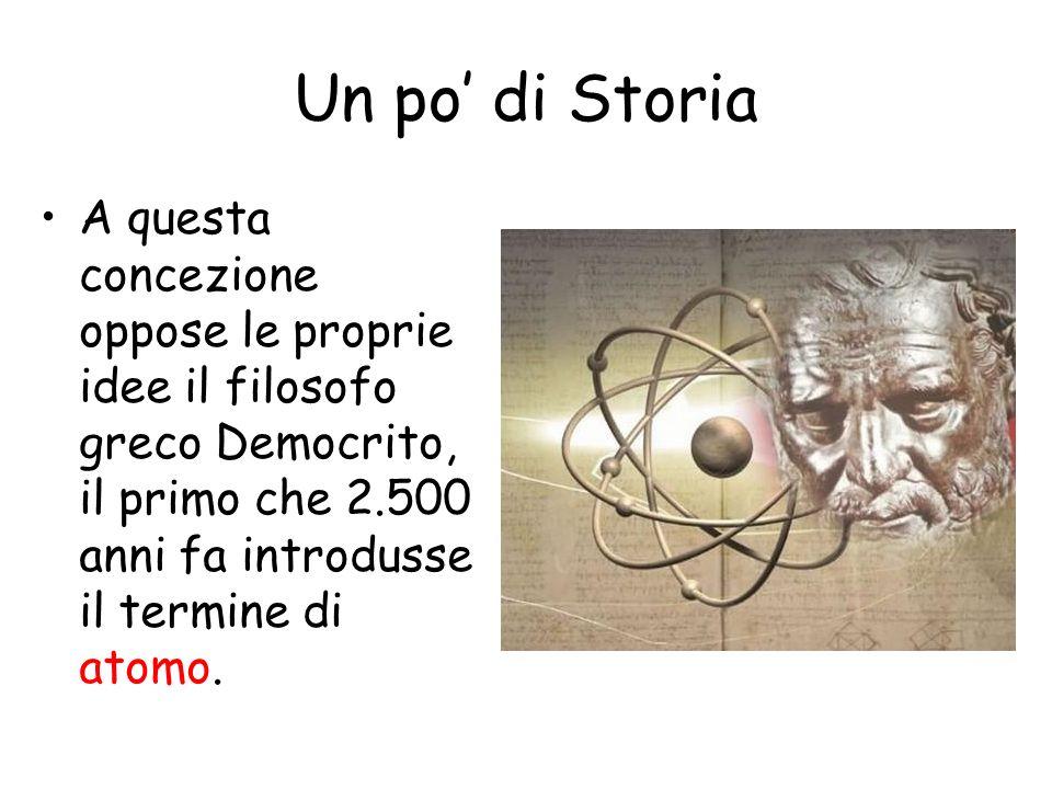 Un po di Storia A questa concezione oppose le proprie idee il filosofo greco Democrito, il primo che 2.500 anni fa introdusse il termine di atomo.