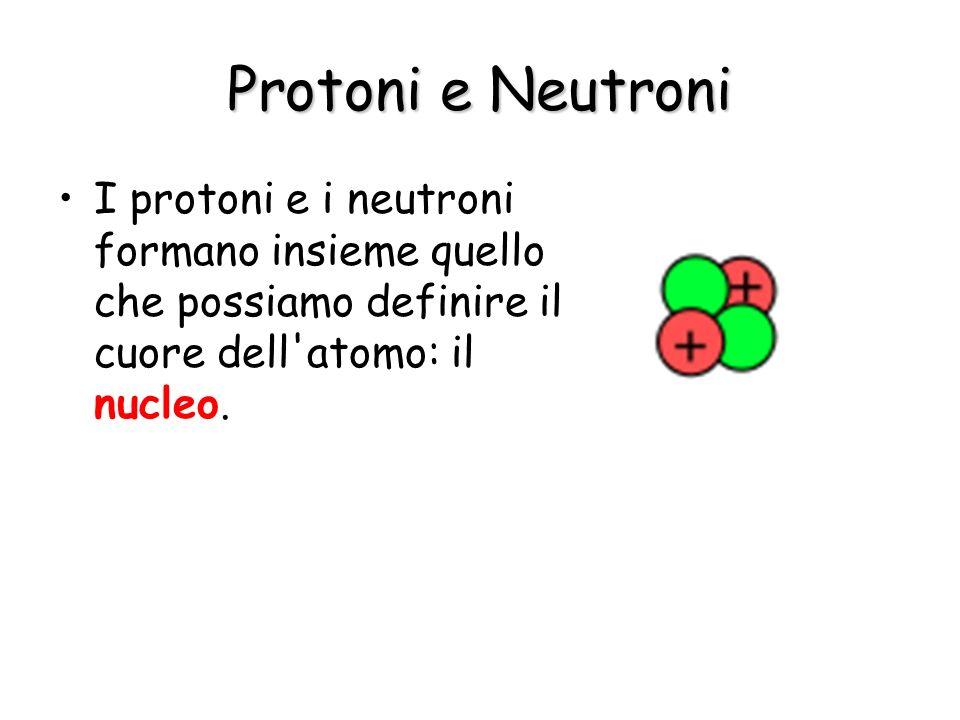Protoni e Neutroni I protoni e i neutroni formano insieme quello che possiamo definire il cuore dell'atomo: il nucleo.