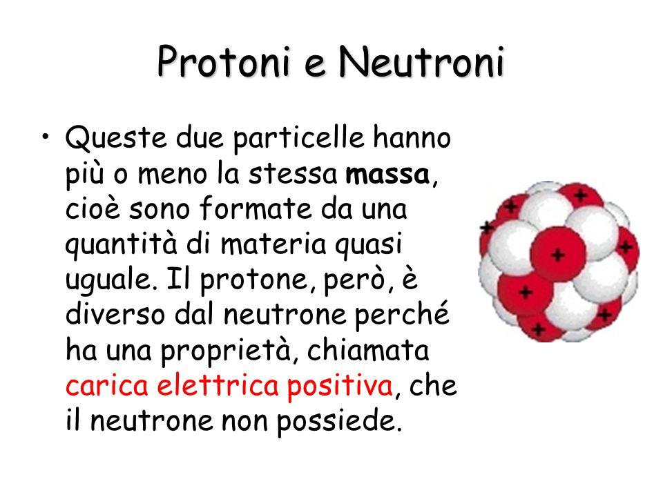 Protoni e Neutroni Queste due particelle hanno più o meno la stessa massa, cioè sono formate da una quantità di materia quasi uguale. Il protone, però