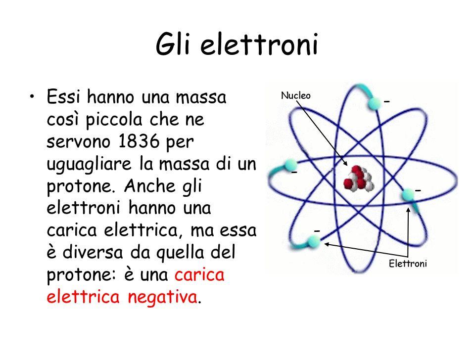 Gli elettroni Essi hanno una massa così piccola che ne servono 1836 per uguagliare la massa di un protone. Anche gli elettroni hanno una carica elettr