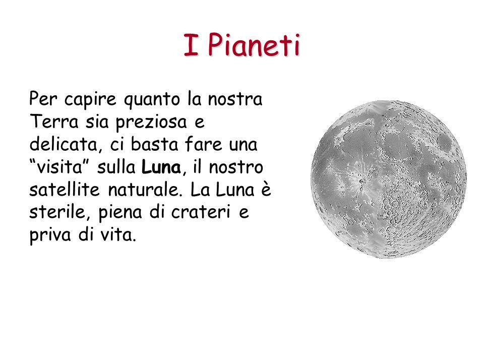 I Pianeti Per capire quanto la nostra Terra sia preziosa e delicata, ci basta fare una visita sulla Luna, il nostro satellite naturale. La Luna è ster