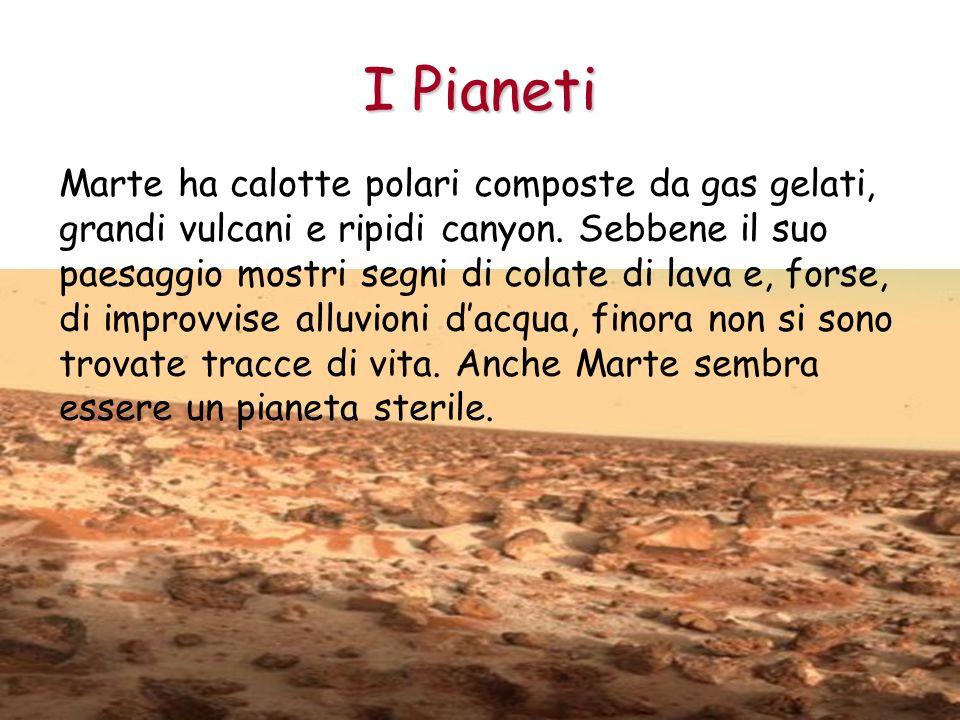 I Pianeti Marte ha calotte polari composte da gas gelati, grandi vulcani e ripidi canyon. Sebbene il suo paesaggio mostri segni di colate di lava e, f