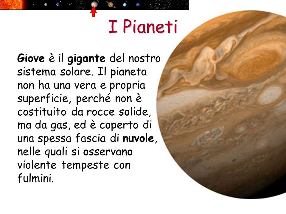 I Pianeti Giove è il gigante del nostro sistema solare. Il pianeta non ha una vera e propria superficie, perché non è costituito da rocce solide, ma d
