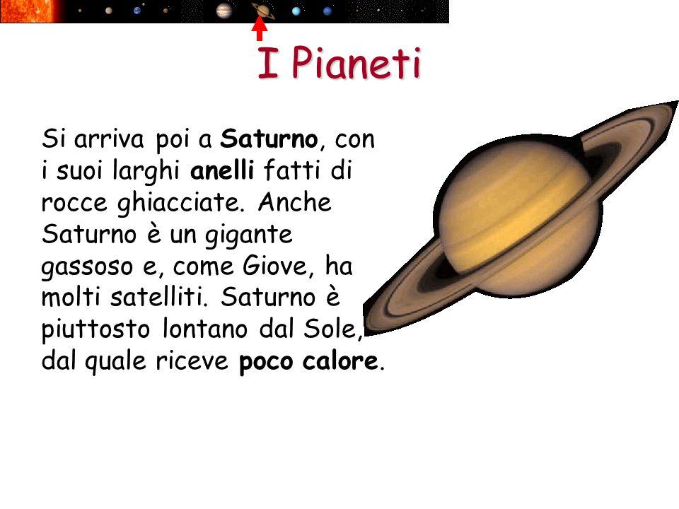 I Pianeti Si arriva poi a Saturno, con i suoi larghi anelli fatti di rocce ghiacciate. Anche Saturno è un gigante gassoso e, come Giove, ha molti sate