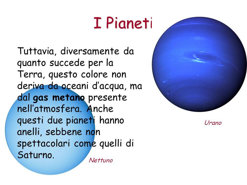 I Pianeti Nettuno Urano Tuttavia, diversamente da quanto succede per la Terra, questo colore non deriva da oceani dacqua, ma dal gas metano presente n