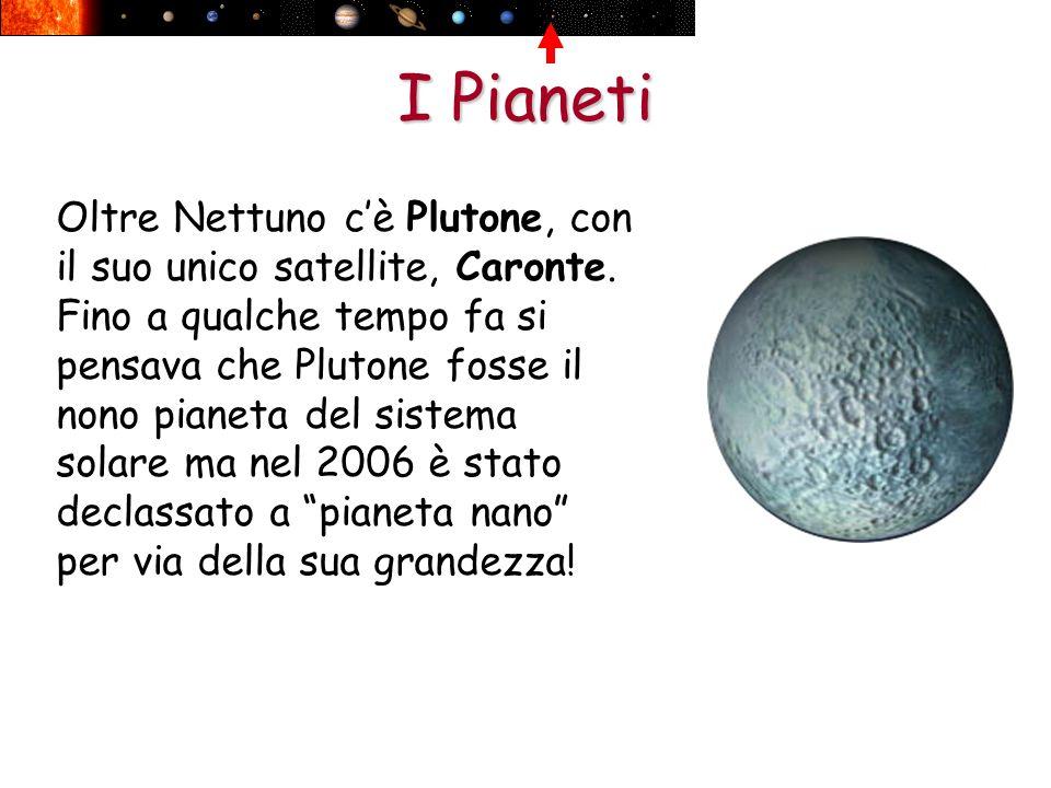 I Pianeti Oltre Nettuno cè Plutone, con il suo unico satellite, Caronte. Fino a qualche tempo fa si pensava che Plutone fosse il nono pianeta del sist