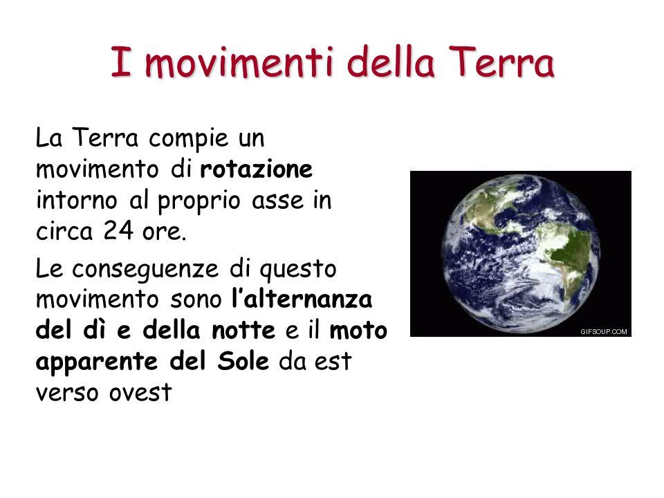 I movimenti della Terra La Terra compie un movimento di rotazione intorno al proprio asse in circa 24 ore. Le conseguenze di questo movimento sono lal