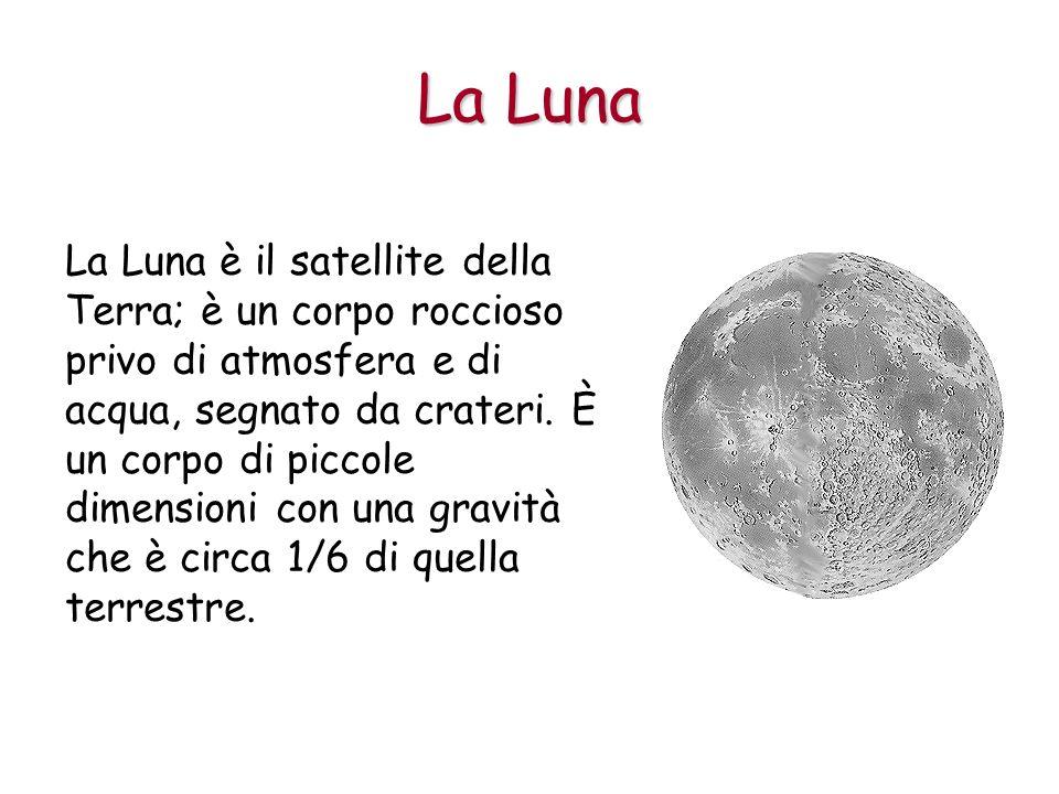 La Luna è il satellite della Terra; è un corpo roccioso privo di atmosfera e di acqua, segnato da crateri. È un corpo di piccole dimensioni con una gr