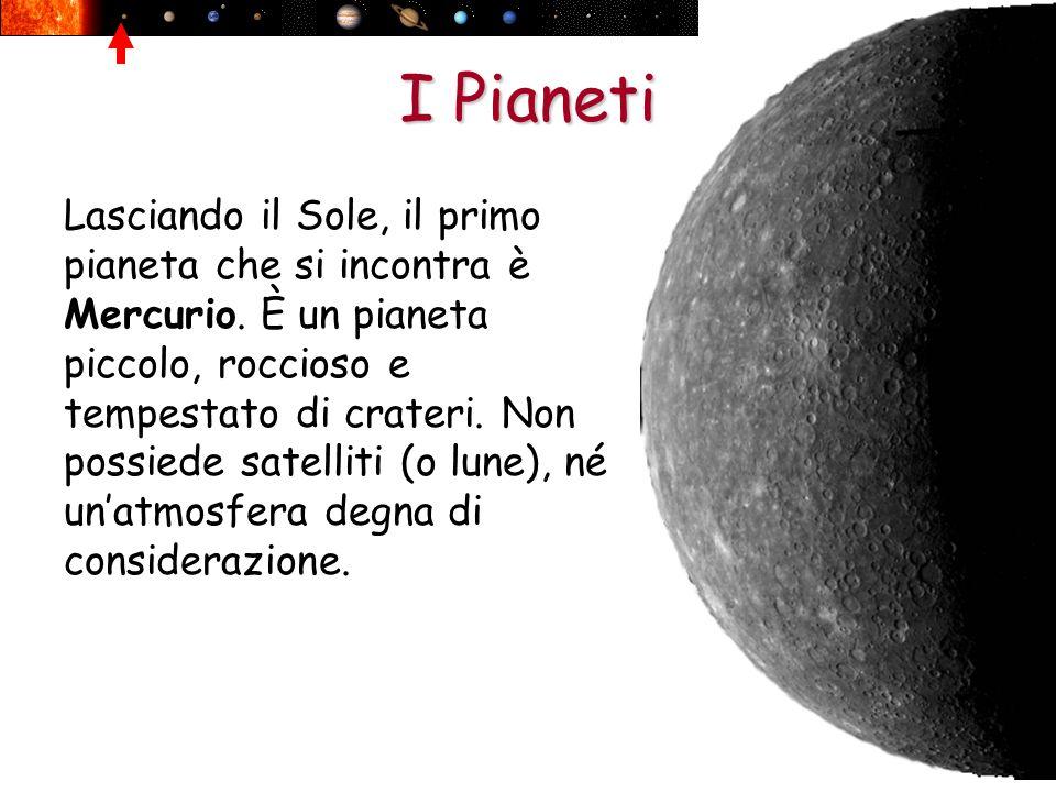 I Pianeti Lasciando il Sole, il primo pianeta che si incontra è Mercurio. È un pianeta piccolo, roccioso e tempestato di crateri. Non possiede satelli