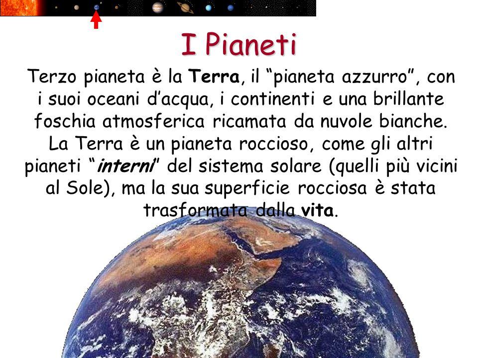 I Pianeti Terzo pianeta è la Terra, il pianeta azzurro, con i suoi oceani dacqua, i continenti e una brillante foschia atmosferica ricamata da nuvole