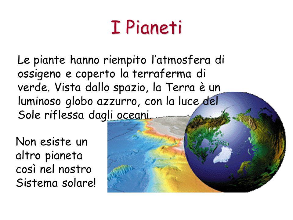 I Pianeti Le piante hanno riempito latmosfera di ossigeno e coperto la terraferma di verde. Vista dallo spazio, la Terra è un luminoso globo azzurro,