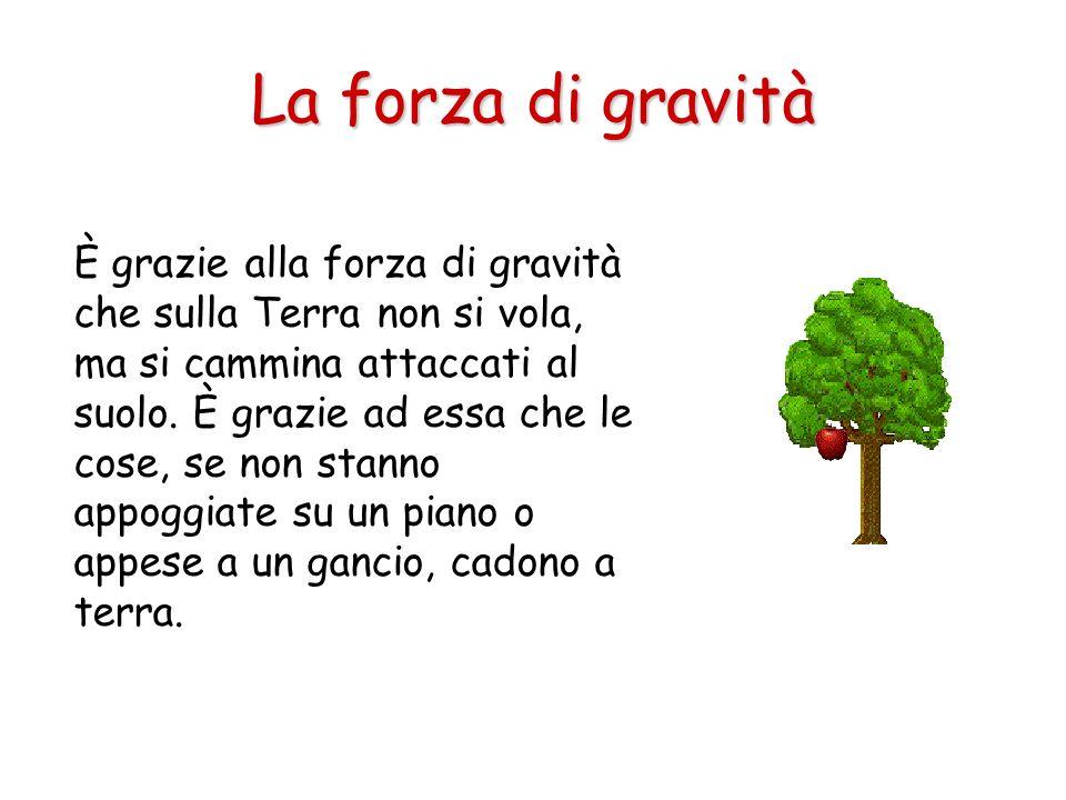 È grazie alla forza di gravità che sulla Terra non si vola, ma si cammina attaccati al suolo. È grazie ad essa che le cose, se non stanno appoggiate s