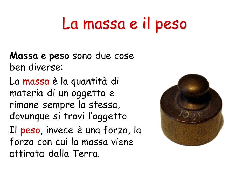 La massa e il peso Massa e peso sono due cose ben diverse: La massa è la quantità di materia di un oggetto e rimane sempre la stessa, dovunque si trov
