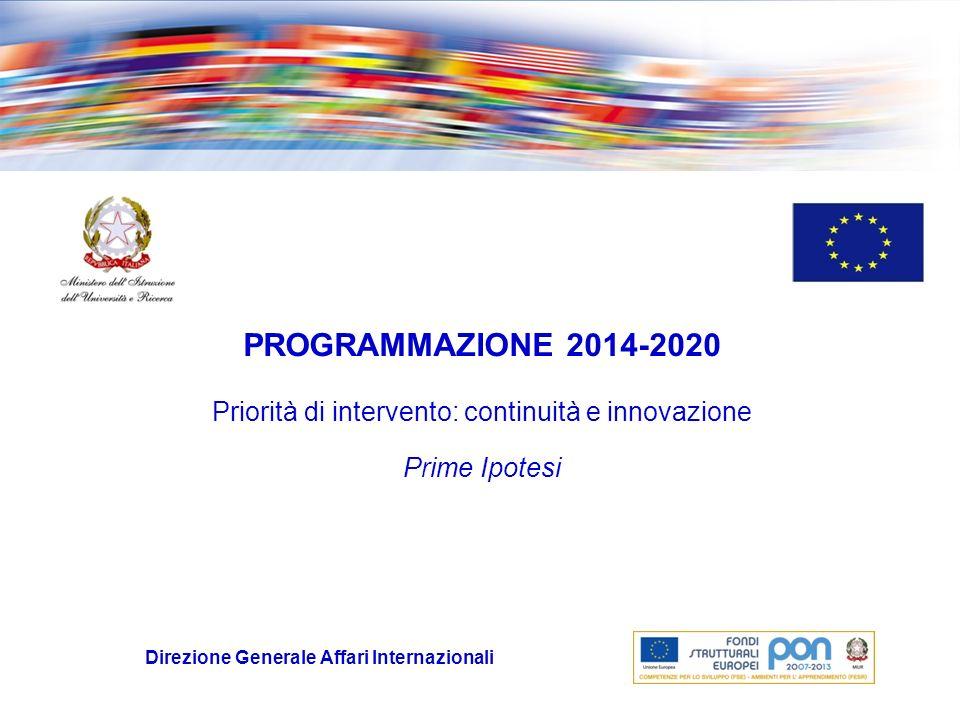 Fase attuale Il MISE e il MLPS (Amministrazioni capofila di Fondo) avvieranno a breve la fase di concertazione per la nuova programmazione 2014-2020 con incontri e riunioni con le Amministrazioni centrali e regionali, le Parti Sociali e il Terzo Settore.