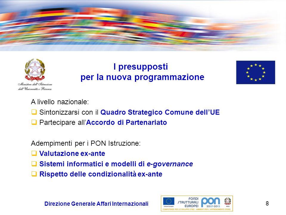19 Direzione Generale Affari Internazionali Quadro priorità MIUR Azioni trasversali Valutazione del Programma e degli Interventi Pubblicità Assistenza Tecnica