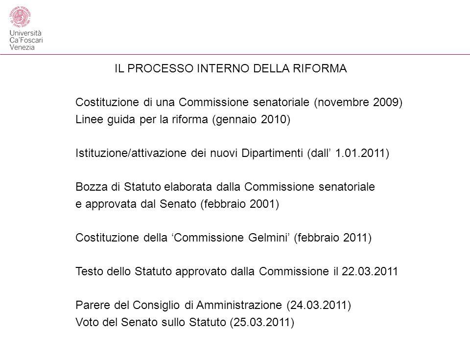 IL PROCESSO INTERNO DELLA RIFORMA Costituzione di una Commissione senatoriale (novembre 2009) Linee guida per la riforma (gennaio 2010) Istituzione/attivazione dei nuovi Dipartimenti (dall 1.01.2011) Bozza di Statuto elaborata dalla Commissione senatoriale e approvata dal Senato (febbraio 2001) Costituzione della Commissione Gelmini (febbraio 2011) Testo dello Statuto approvato dalla Commissione il 22.03.2011 Parere del Consiglio di Amministrazione (24.03.2011) Voto del Senato sullo Statuto (25.03.2011)