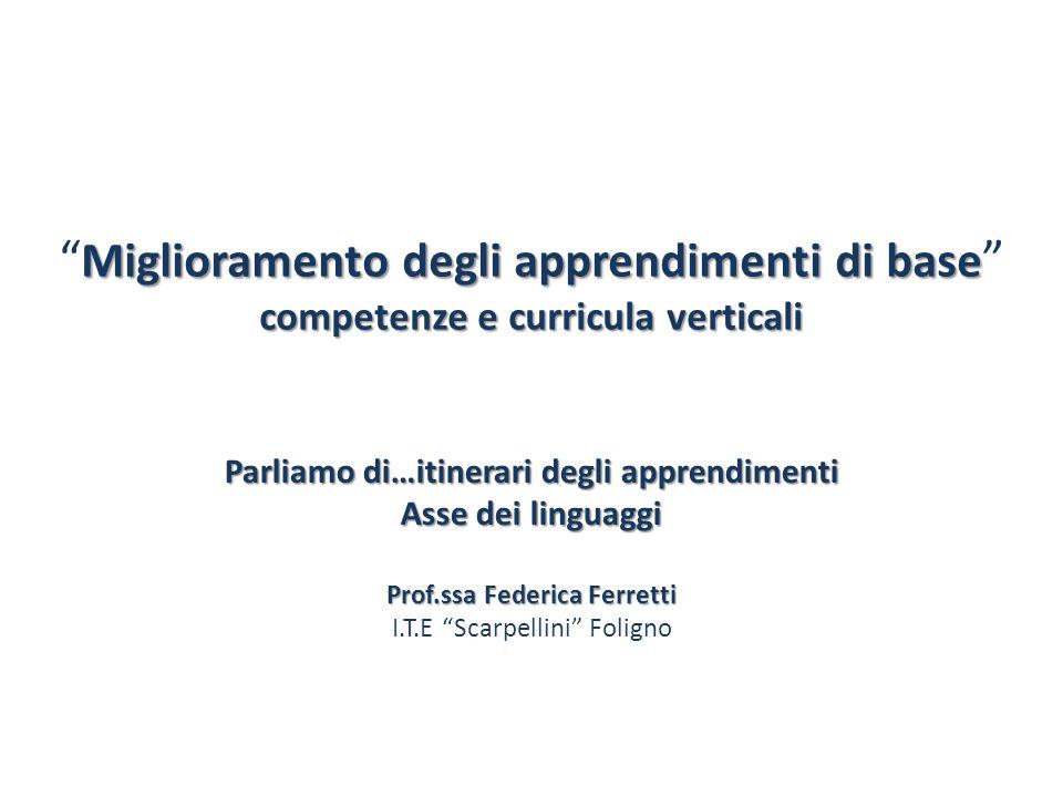 Miglioramento degli apprendimenti di base competenze e curricula verticali Parliamo di…itinerari degli apprendimenti Asse dei linguaggi Prof.ssa Feder
