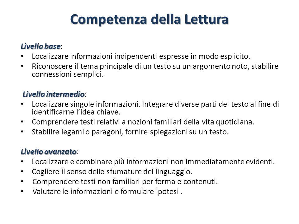 Competenza della Lettura Livello base Livello base: Localizzare informazioni indipendenti espresse in modo esplicito. Riconoscere il tema principale d
