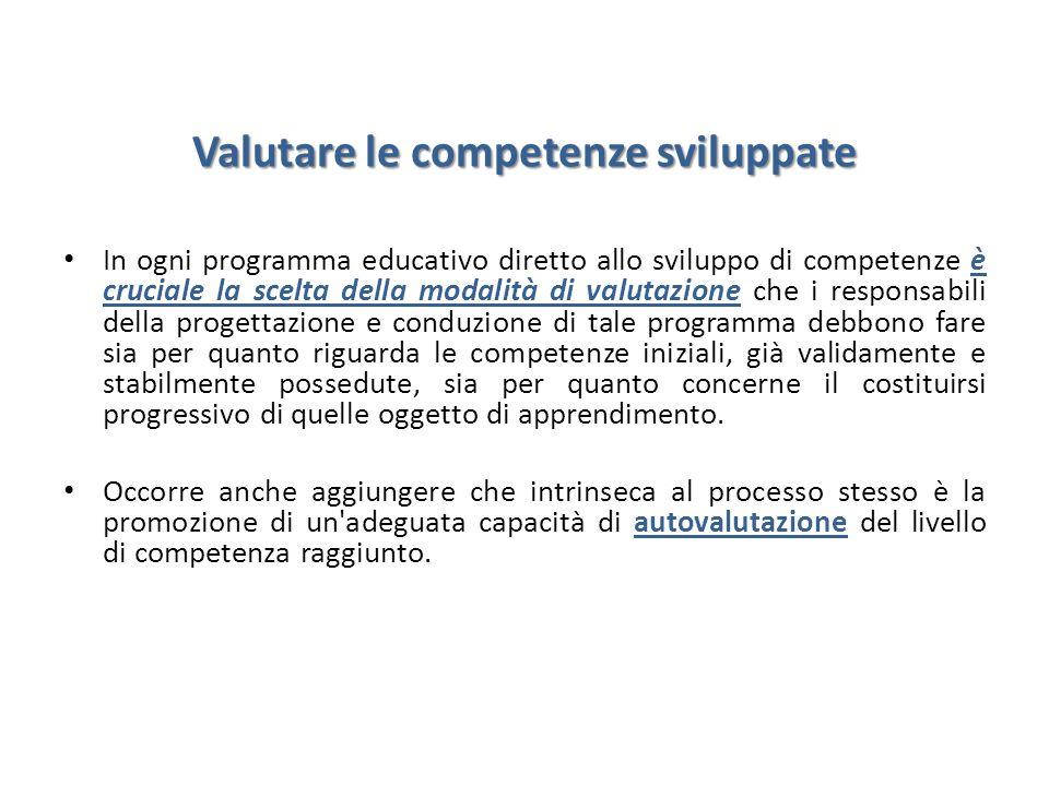 Valutare le competenze sviluppate In ogni programma educativo diretto allo sviluppo di competenze è cruciale la scelta della modalità di valutazione c