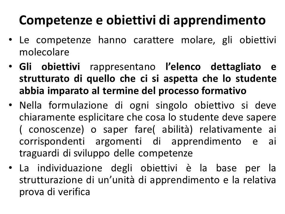 Competenze e obiettivi di apprendimento Le competenze hanno carattere molare, gli obiettivi molecolare Gli obiettivi rappresentano lelenco dettagliato