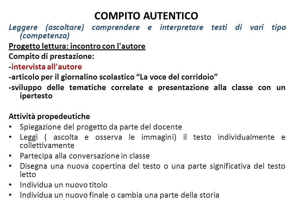 COMPITO AUTENTICO Leggere (ascoltare) comprendere e interpretare testi di vari tipo (competenza) Progetto lettura: incontro con l'autore Compito di pr