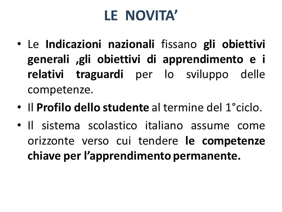Le Indicazioni nazionali fissano gli obiettivi generali,gli obiettivi di apprendimento e i relativi traguardi per lo sviluppo delle competenze. Il Pro
